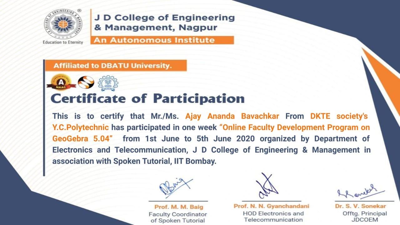 "Ajay Ananda Bavachkar has completed ""ONE-WEEK Faculty Development Program on ""GeoGebra 5.04"""
