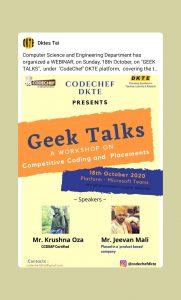"Computer Science and Engineering Department has organized a WEBINAR, on ""GEEK TALKS"""